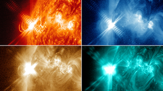 Four images from NASA's Solar Dynamics Observatory of an X3.2-class flare from late at night on May 13, 2013.  Starting in the upper left and going clockwise, the images show light in the 304, 335, 193 and 131 Ångström wavelengths.  By looking at the sun in different wavelengths, scientists can view solar material at different temperatures, and thus learn more about what causes flares. Unlabeled version. Credit: NASA/SDO/AIA
