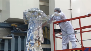 This video shows the transportation of the IRIS observatory from the thermal vacuum chamber back to the clean tent for final testing and preparations for delivery to the launch site at Vandenberg Air Force Base.  The second part of the vide shows the final solar array deployment test.  The arrays were released using flight commands.  This shows the observatory in its final flight configuration including the MLI blankets.  This is how the observatory will appear in orbit with the front of the telescope facing the sun. Credit: LM Video