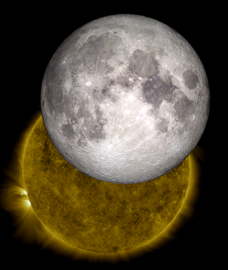 This image is a view of the sun captured by NASA's Solar Dynamics Observatory on Oct. 7, 2010, while partially obscured by the moon. A close look at the crisp horizon of the moon against the sun shows the outline of lunar mountains. A model of the moon from NASA's Lunar Reconnaissance Orbiter has been inserted into the picture, showing how perfectly the moon's true topology fits into the shadow observed by SDO.   This version shows the complete moon. Credit: NASA/SDO/LRO/GSFC