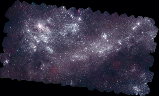 This version of the Swift LMC mosaic is co-aligned with the optical image below. Credit: NASA/Swift/S. Immler (Goddard) and M. Siegel (Penn State)