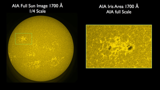 The left hand panel shows an AIA image in the 1700 ångström band. On the right panel is the is the region outlined in green s at the full resolution of AIA. Credit: NASA/SDO/LMSAL/AIA/IRIS