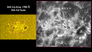 On the left hand panel is the right hand panel on the first slide. On the right panel is the region outlined in pink as seen b=in Si IV by IRIS at the same time.  There are 12.7 IRIS pixels for every AIA pixel.  The smallest structures in the IRIS image are about 240 km wide on the Sun. Credit: NASA/SDO/LMSAL/AIA/IRIS