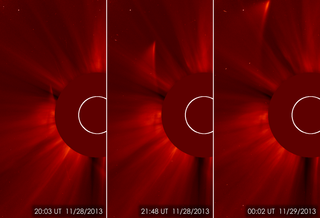 A series of images from ESA/NASA's Solar and Heliospheric Observatory, or SOHO, showing what remains of comet ISON as it continues its orbit. Credit: ESA&NASA/SOHO