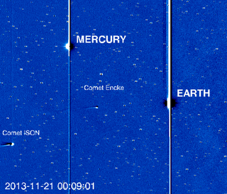 Comet ISON makes its appearance into the higher-resolution HI-1 camera on the STEREO-A spacecraft.  The dark