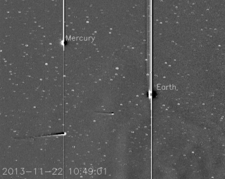 NASA's STEREO-A spacecraft is monitoring Comet ISON as it approaches the sun. The latest movie from the spacecraft's Heliospheric Imager shows Comet ISON, Mercury, Comet Encke and Earth over a two day period from Nov. 20 to Nov. 22, 2013. The sun sits right of the field of view of this camera. Image Credit: Karl Battams/NRL/NASA STEREO/CIOC.