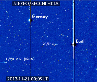 Comet C/2012 S1 (ISON) has entered the NASA STEREO/SECCHI HI-1A field of view where it joins the Earth, Mercury and comet 2P/Encke. Credit: Karl Battams/NASA/STEREO/CIOC