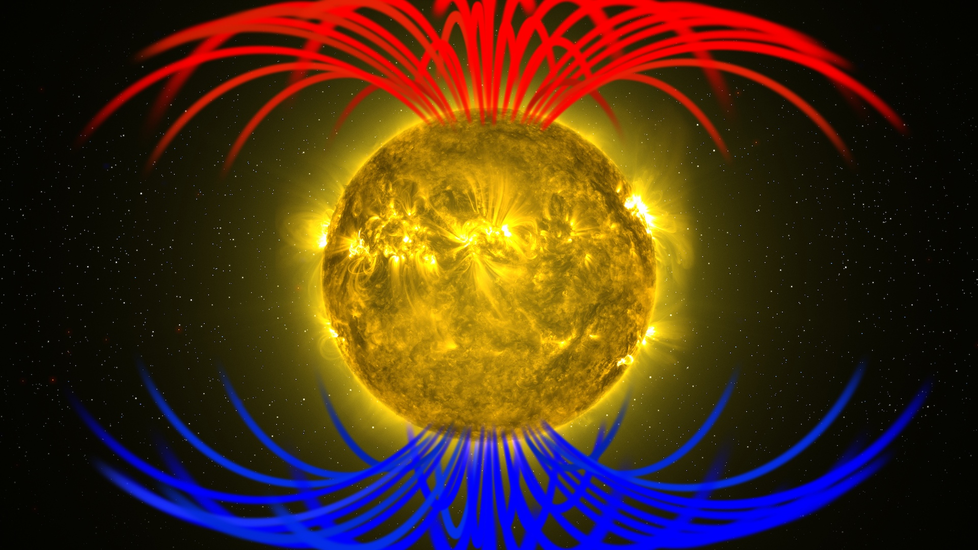 GMS: Sun Magnetic Field Flip Live Shots and Media Resources