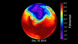 The northern hemisphere's jet stream (white line) usually pins Arctic air north of the continental U.S.