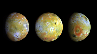 Io is the most volcanically active body in the solar system. At 2,263 miles in diameter, it is slightly larger than Earth's moon.