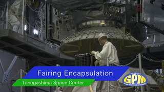 Fairing Encapsulation Compete Footage courtesy of JAXA/MHI On Feb. 11, the Core Observatory was moved into the spacecraft fairing assembly building and into the Encapsulation Hall. Final inspections and preparations were completed for the installation into the fairing, which began on Feb 13. The fairing is the part of the rocket that will contain the spacecraft at the top of the H-IIA rocket. The encapsulation process for the H-IIA is very different than for most U.S. rockets. For U.S. rockets, the fairing is usually in two pieces that close around the payload like a clamshell. To install the GPM Core Observatory into the fairing of the H-IIA rocket, first the Core Observatory and the Payload Attach Fitting (PAF) are set up in scaffolding in the Encapsulation Hall. Then, the fairing is lifted above and lowered onto the fitting. When only a few feet remain above the final position, stanchions support the fairing while technicians go inside to complete the electrical connections. When this is completed, they remove the stanchions and lower the fairing to its final position, where it is bolted in place.