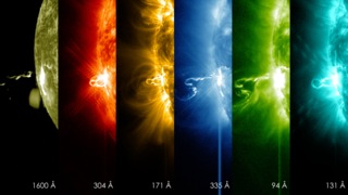 These images  from NASA's Solar Dynamics Observatory at 7:25 p.m. EST on Feb. 24, 2014, show the first moments of an X-class flare in different wavelengths of light – seen as the bright spot that appears on the left limb of the sun. Hot solar material can be seen hovering above the active region in the sun's atmosphere, the corona. Credit: NASA/SDO
