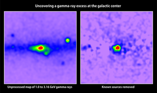 Side-by-side maps, without labels. At left is a map of gamma rays with energies between 1 and 3.16 GeV detected in the galactic center by Fermi's LAT; red indicates the greatest number. Prominent pulsars are labeled. Removing all known gamma-ray sources (right) reveals excess emission that may arise from dark matter annihilations. Credit: T. Linden (Univ. of Chicago)