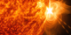 An X 1.4 solar flare erupted on the right side of the sun on the evening of April. 24, 2014. This composite image, captured at 8:42 p.m. EST, shows the sun in ultraviolet light with wavelength of both 131 and 304 angstroms.  Cropped.