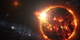 NASA's Swift mission detected a record-setting series of X-ray flares unleashed by DG CVn, a nearby binary consisting of two red dwarf stars, illustrated here. At its peak, the initial flare was brighter in X-rays than the combined light from both stars at all wavelengths under normal conditions.   Credit: NASA's Goddard Space Flight Center/S. Wiessinger