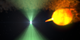 This animation illustrates one possible model for the dramatic changes observed from J1023. The two stars of AY Sextantis orbit closely enough that a stream of gas flows from the sun-like star toward the pulsar. The pulsar's rapid rotation and intense magnetic field produce both the radio beam and the high-energy wind, which is eroding its companion. When the radio beam (green) is detectable, the pulsar wind holds back the companion's gas stream, preventing it from approaching too closely. Now and then the stream surges, reaches toward the pulsar and establishes an accretion disk. Processes involved in producing the radio beam are either shut down or, more likely, obscured. Meanwhile, some of the gas falling toward the pulsar may be accelerated outward at nearly the speed of light, forming dual particle jets firing in opposite directions. Shock waves within and along the periphery of these jets are a likely source of the bright gamma-ray emission (magenta) detected by NASA's Fermi Gamma-ray Space Telescope.  Credit: NASA's Goddard Space Flight Center