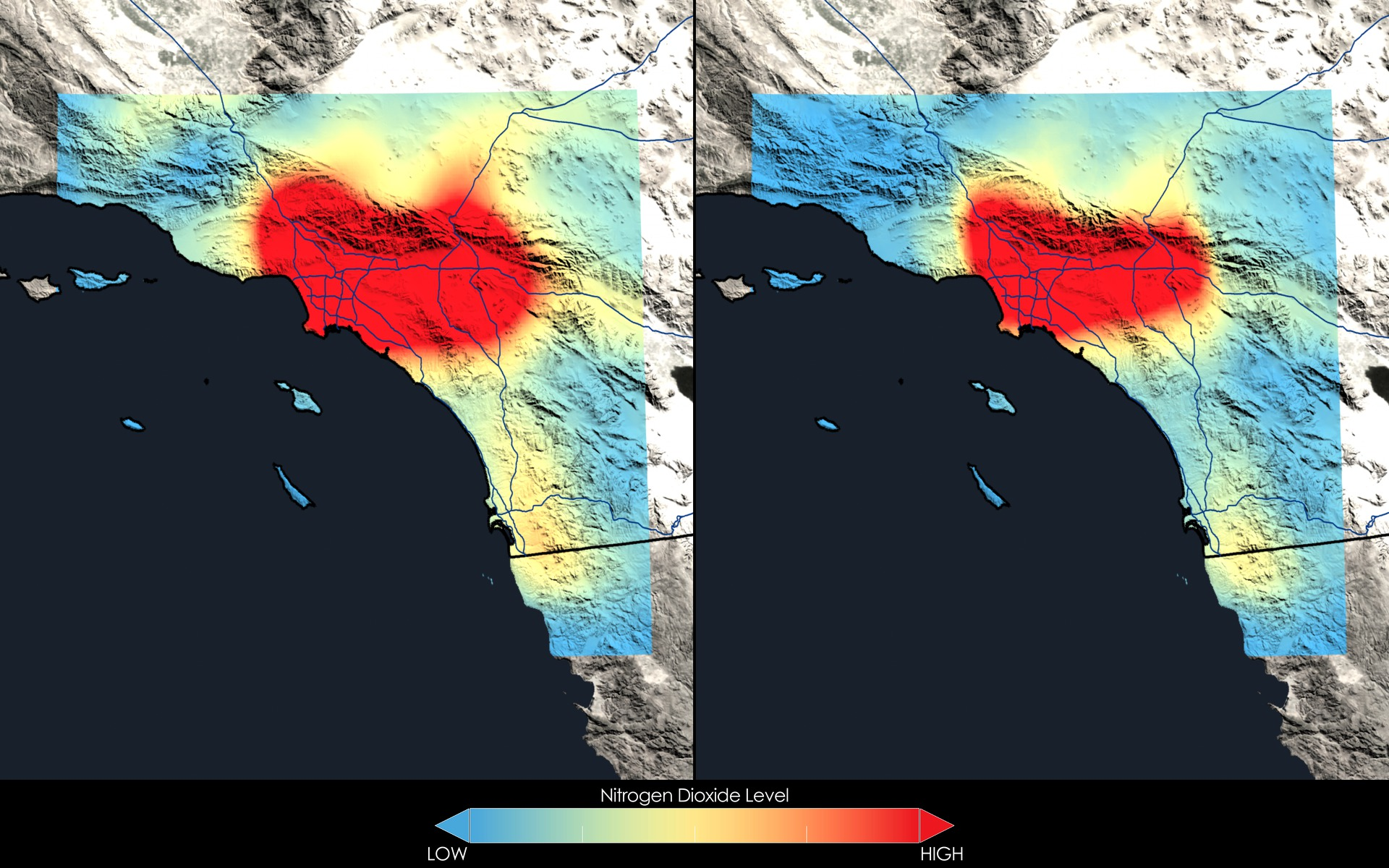 GMS NASA Images Highlight US Air Quality Improvement  Release - Los angeles pollution map