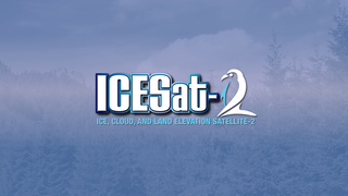 Image which says 'ICESat-2 Ice, Cloud and land Elevation Satellite-2 and has a penguin on it', linking to the ICESat-2 Gallery Page