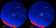 Labeled version. Fermi LAT images showing the gamma-ray sky around the blazar PKS B1424-418. Brighter colors indicate greater numbers of gamma rays. The dashed arc marks part of the source region established by IceCube for the Big Bird neutrino (50-percent confidence level). Left: An average of LAT data centered on July 8, 2011, and covering 300 days when the blazar was inactive. Right: An average of 300 active days centered on Feb. 27, 2013, when PKS B1424-418 was the brightest blazar in this part of the sky.   Credit: NASA/DOE/LAT Collaboration