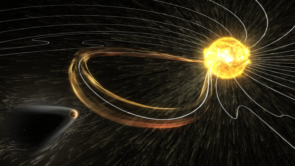 Mars' magnetic tail is shaped and twisted by the solar wind.