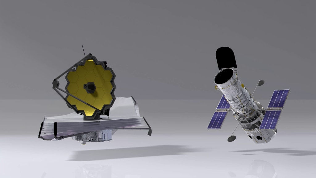 Size comparison between the Webb Space Telescope and the Hubble Space Telescope.