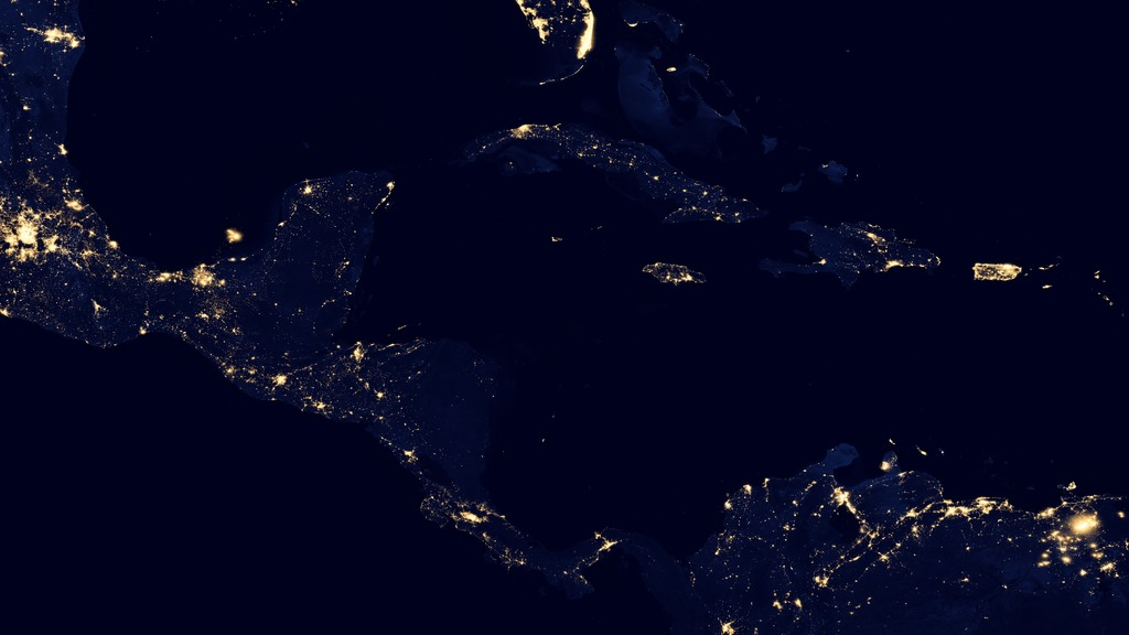 Hyperwall Earth At Night - Satellite map of se us at night
