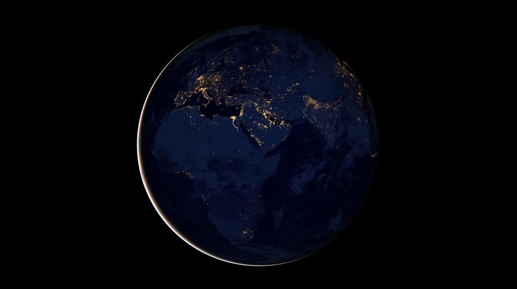 Hyperwall: Rotating Earth at Night