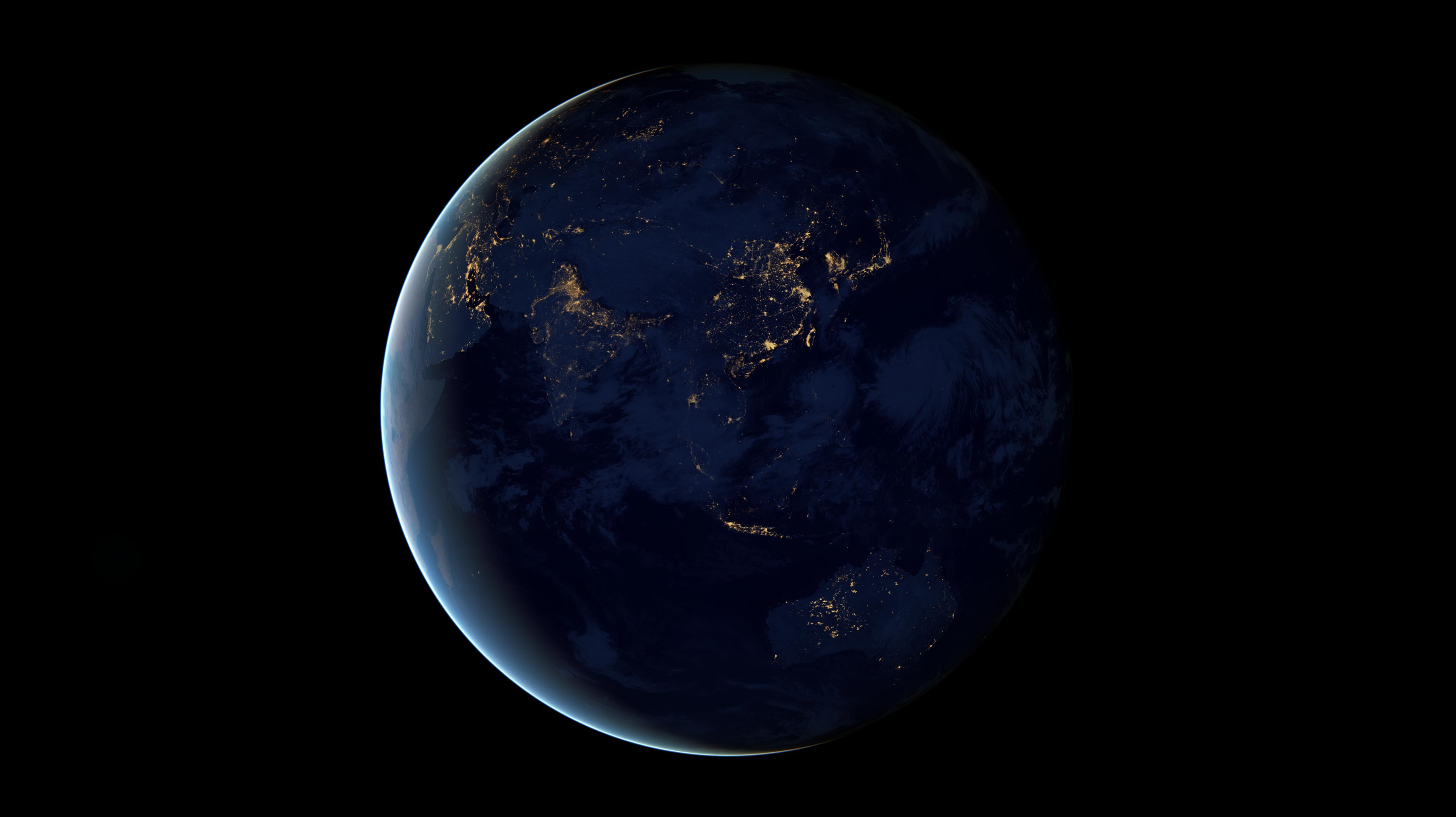 Hyperwall Rotating Earth At Night