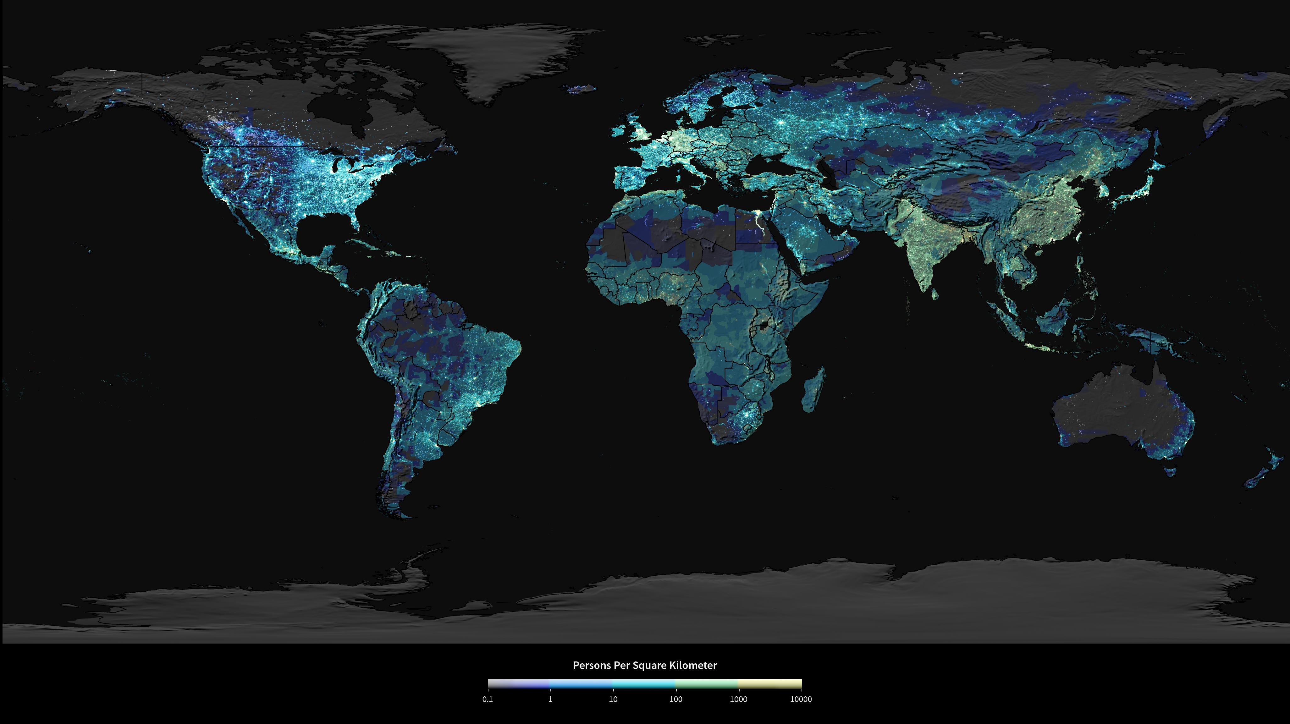Hyperwall Population Density at Night