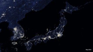 VIIRS nighttime image of Japan and Korean Peninsula, May 2014.