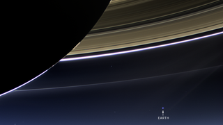 Saturn's rings and Earth from the outer solar system, observed by Cassini.